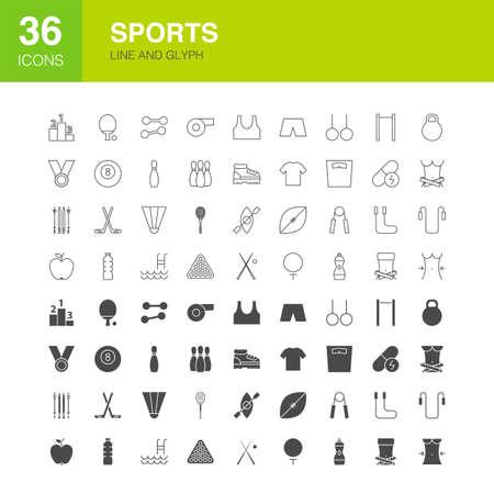 Sports Line Web Glyph Icons 写真素材 - 129945412