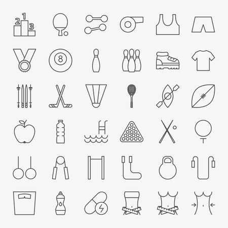 Sport Fitness Line Icons Set