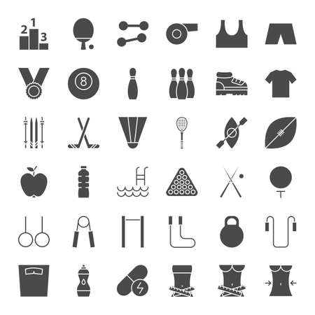Sport Fitness Solid Web Icons 写真素材 - 129945699
