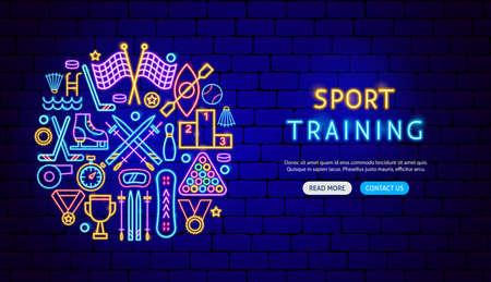 Sport Training Neon Banner Design. Vector Illustration of Activity Promotion.