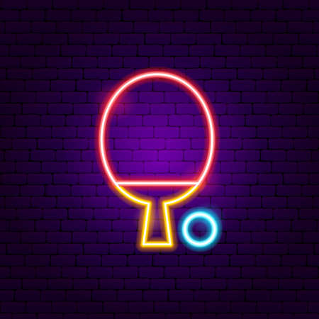 Table Tennis Neon Sign. Vector Illustration of Sport Promotion.