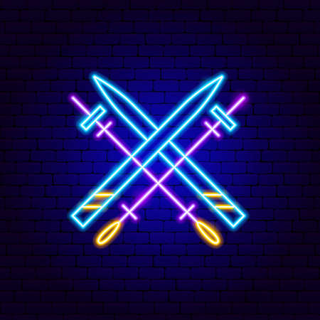 Skiing Neon Sign. Vector Illustration of Sport Promotion. Illustration