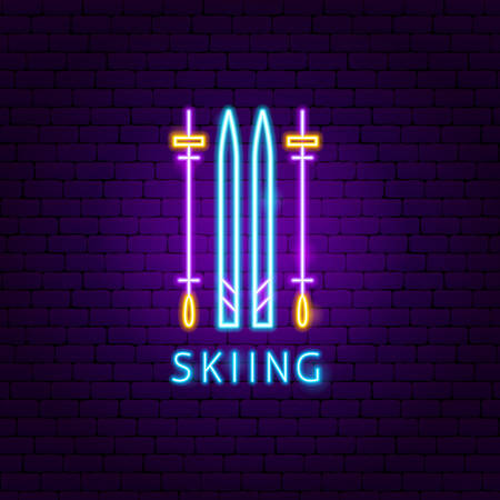 Skiing Neon Label. Vector Illustration of Sport Promotion.