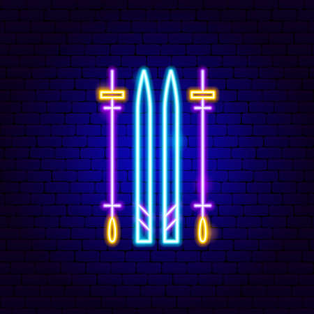 Ski Neon Sign. Vector Illustration of Sport Promotion.