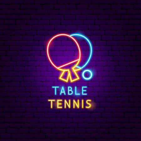 Table Tennis Neon Label. Vector Illustration of Sport Promotion.