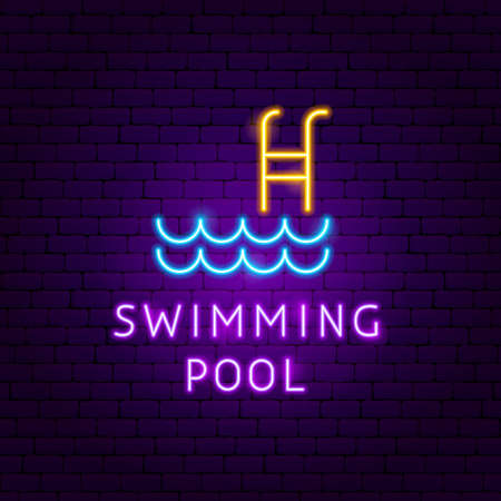 Swimming Pool Neon Label. Vector Illustration of Sport Promotion.