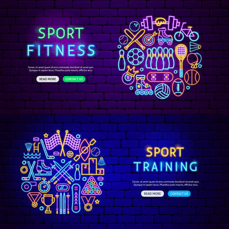 Sport Items Banners. Vector Illustration of Fitness Promotion. Ilustrace
