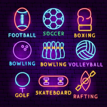 Sports Neon Label Set. Vector Illustration of Activity Promotion.