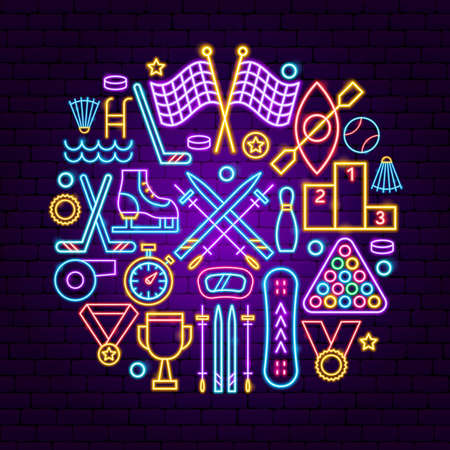 Sports Neon Concept. Vector Illustration of Activity Promotion.