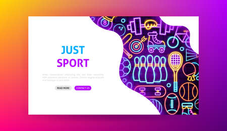 Sport Neon Landing Page. Vector Illustration of Activity Promotion.