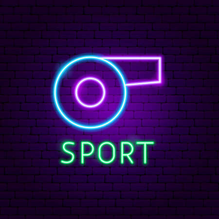 Sport Neon Label. Vector Illustration of Whistle Promotion. Ilustração
