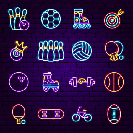 Sport Neon Icons. Vector Illustration of Exercise Promotion.  イラスト・ベクター素材
