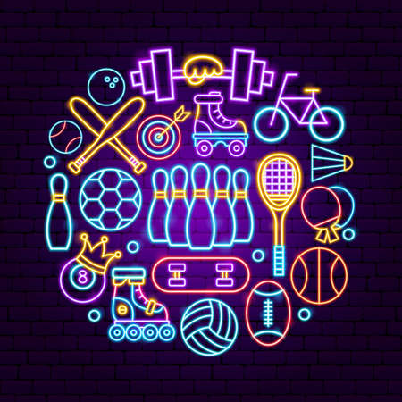 Sport Neon Concept. Vector Illustration of Fitness Promotion.  イラスト・ベクター素材