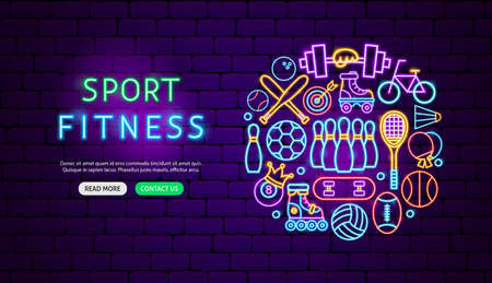 Sport Fitness Neon Banner Design. Vector Illustration of Activity Promotion.
