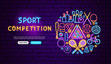 Sport Competition Neon Banner Design. Vector Illustration of Training Promotion.