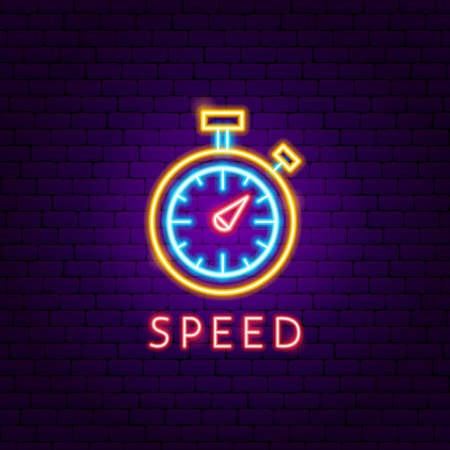 Speed Neon Label. Vector Illustration of Sport Promotion.