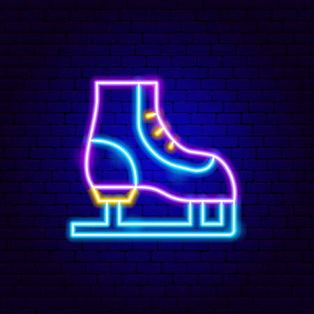 Skating Neon Sign. Vector Illustration of Sport Promotion.