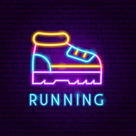 Running Neon Label. Vector Illustration of Sport Promotion. Ilustracja