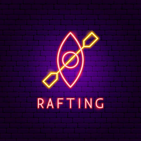 Rafting Neon Label. Vector Illustration of Sport Promotion. Çizim