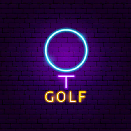 Golf Neon Label. Vector Illustration of Sport Promotion.