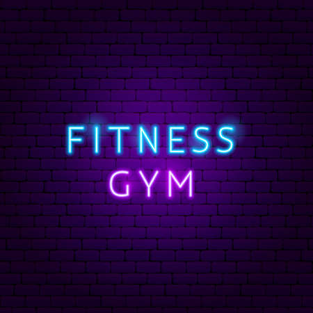 Fitness Gym Neon Text. Vector Illustration of Sport Promotion.