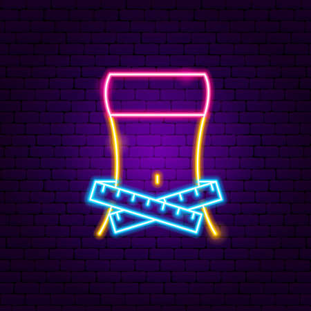 Fitness Dieting Neon Sign. Vector Illustration of Sport Promotion.