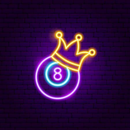 Eight Ball Neon Sign. Vector Illustration of Sport Promotion. 向量圖像