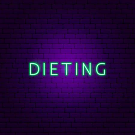 Dieting Neon Text. Vector Illustration of Sport Promotion. Illusztráció