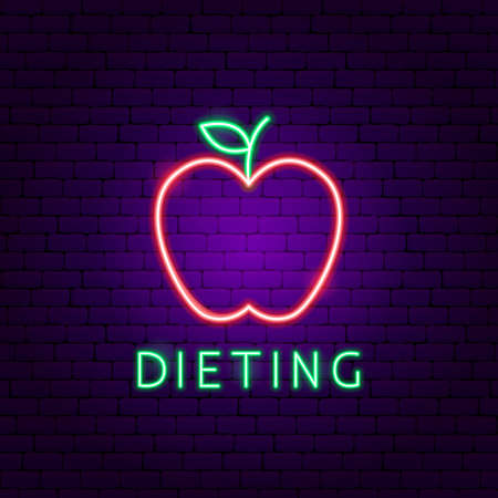 Dieting Food Neon Label. Vector Illustration of Sport Promotion.