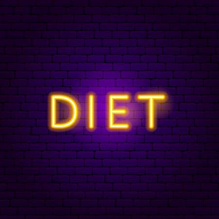 Diet Neon Text. Vector Illustration of Sport Promotion.