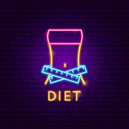 Diet Neon Label. Vector Illustration of Sport Promotion.