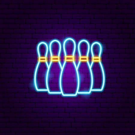 Bowling Kegeln Leuchtreklame. Vektor-Illustration der Sportförderung. Vektorgrafik