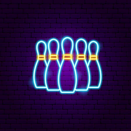 Bowling Skittles Neon Sign. Vector Illustration of Sport Promotion.