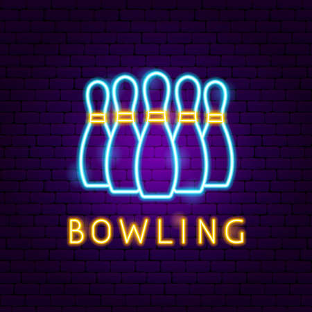 Bowling Neon Label. Vector Illustration of Sport Promotion.