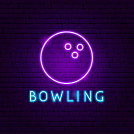 Bowling Ball Neon Label. Vector Illustration of Sport Promotion.