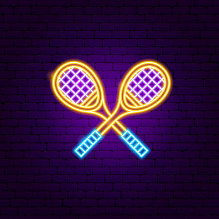 Badminton Rackets Neon Sign. Vector Illustration of Sport Promotion.