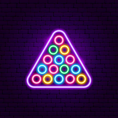 Billiards Neon Sign. Vector Illustration of Sport Promotion. 向量圖像