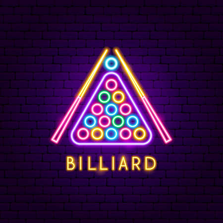 Billiard Neon Label. Vector Illustration of Sport Promotion.