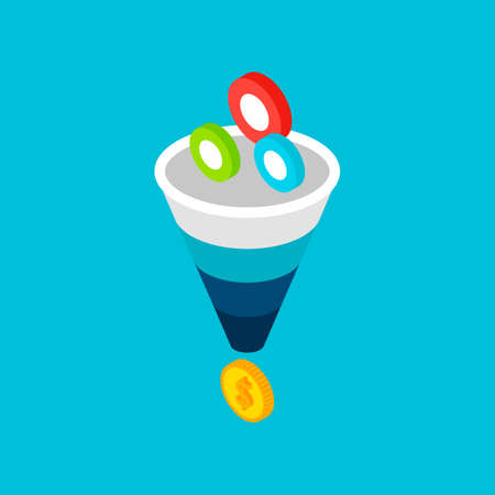 Funnel Sales Leads Money Concept. Vector Illustration of Business Isometry.