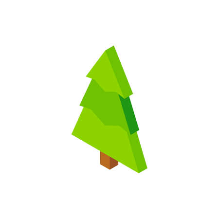 Christmas Tree Green Isometric Object. Vector Illustration of Nature Sign Isometry.