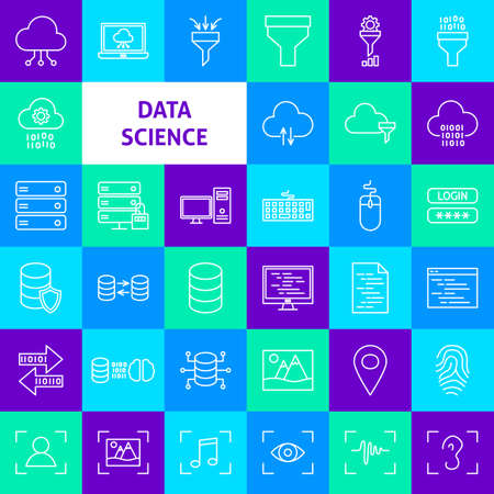 Data Science Line Icons. Thin Outline Symbols over Colorful Squares.