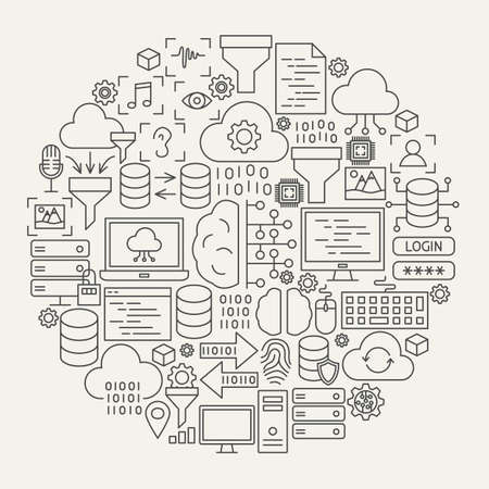 Data Science Line Icons Circle. Vector Illustration of Outline Design.