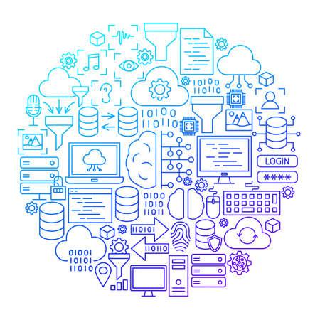 Data Science Line Icon Circle Design Illustration