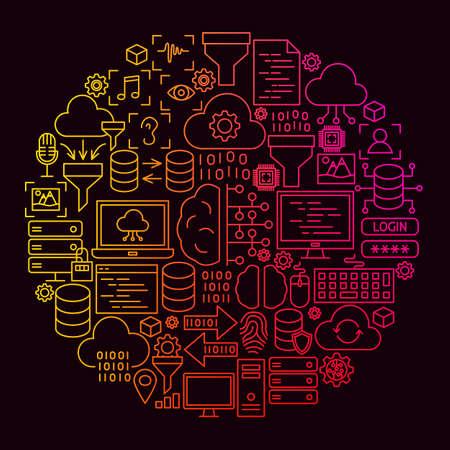 Data Science Line Icon Circle Concept Illustration