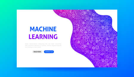 Machine Learning Landing Page. Vector Illustration of Outline Design.  イラスト・ベクター素材