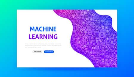 Machine Learning Landing Page. Vector Illustration of Outline Design. Illustration
