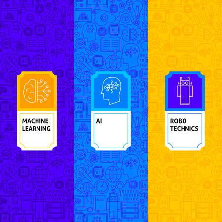Line Machine Learning Package Labels. Vector Illustration of Outline Design. Illustration