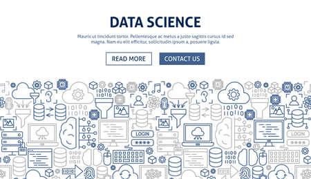 Data Science Banner Design. Vector Illustration of Outline Flyer.
