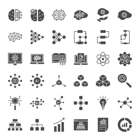 Artificial Intelligence Solid Web Icons. Vector Set of Technology Glyphs.