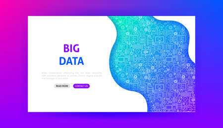 Data Science Technology Landing Page  イラスト・ベクター素材